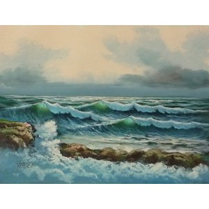 絵画 肉筆油絵 F4号 「波 海 海景画」-139- 特価|touo