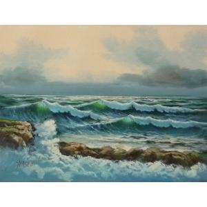 絵画 肉筆油絵 F4号 「波 海 海景画」-144- 特価|touo