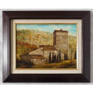 ヨーロッパ絵画 肉筆油絵 F4号 ミリアニ作「イタリア トスカーナ風景」1+新品額縁|touo