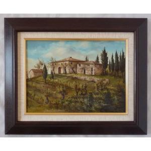 ヨーロッパ絵画 肉筆油絵 F4号 ミリアニ作「イタリア トスカーナ風景」10+新品額縁|touo