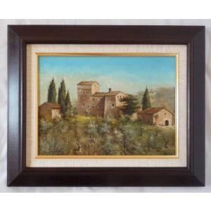 ヨーロッパ絵画 肉筆油絵 F4号 ミリアニ作「イタリア トスカーナ風景」11+新品額縁|touo