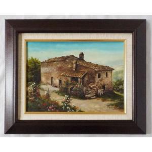 ヨーロッパ絵画 肉筆油絵 F4号 ミリアニ作「イタリア トスカーナ風景」2+新品額縁|touo