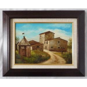 ヨーロッパ絵画 肉筆油絵 F4号 ミリアニ作「イタリア トスカーナ風景」3+新品額縁|touo