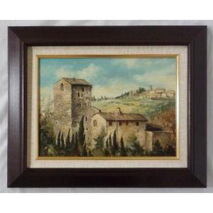ヨーロッパ絵画 肉筆油絵 F4号 ミリアニ作「イタリア トスカーナ風景」4+新品額縁|touo