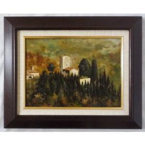 ヨーロッパ絵画 肉筆油絵 F4号 ミリアニ作「イタリア トスカーナ風景」5+新品額縁|touo