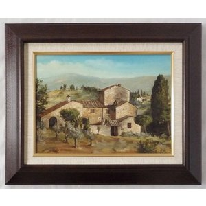ヨーロッパ絵画 肉筆油絵 F4号 ミリアニ作「イタリア トスカーナ風景」6+新品額縁|touo
