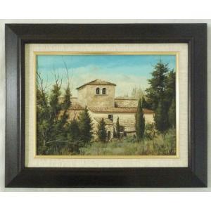 ヨーロッパ絵画 肉筆油絵 F4号 ミリアニ作「イタリア トスカーナ風景」7+新品額縁|touo