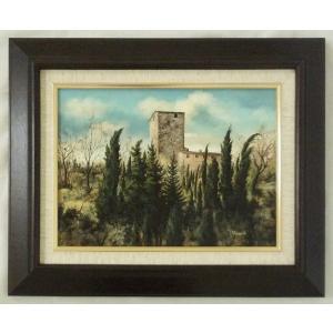 ヨーロッパ絵画 肉筆油絵 F4号 ミリアニ作「イタリア トスカーナ風景」8+新品額縁|touo