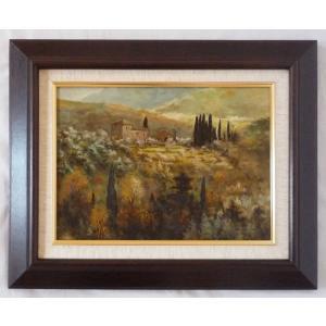 ヨーロッパ絵画 肉筆油絵 F4号 ミリアニ作「イタリア トスカーナ風景」9+新品額縁|touo