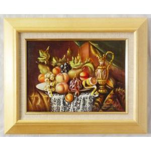 ヨーロッパ絵画 肉筆油絵 F4号 レインプレヒト作「静物」1+新品額縁|touo