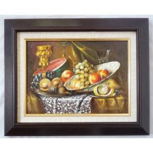 ヨーロッパ絵画 肉筆油絵 F4号 レインプレヒト作「静物」2+新品額縁|touo