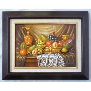 ヨーロッパ絵画 肉筆油絵 F4号 レインプレヒト作「静物」3+新品額縁|touo