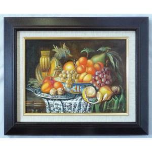 ヨーロッパ絵画 肉筆油絵 F4号 レインプレヒト作「静物」4+新品額縁|touo