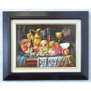 ヨーロッパ絵画 肉筆油絵 F4号 レインプレヒト作「静物」5+新品額縁|touo