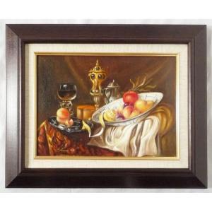 ヨーロッパ絵画 肉筆油絵 F4号 レインプレヒト作「静物」6+新品額縁|touo