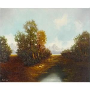 ヨーロッパ絵画 油絵 F12号W.クーニック作 「山水風景」 -新品-特価-|touo