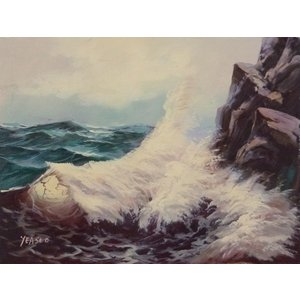 絵画 肉筆油絵 F4号 「波 海 海景画」-148- 特価|touo