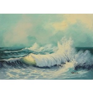 絵画 肉筆油絵 F4号 「波 海 海景画」-149- 特価|touo