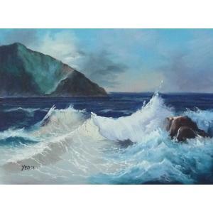 絵画 肉筆油絵 F4号 「波 海 海景画」-150- 特価|touo