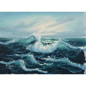 絵画 肉筆油絵 F4号 「波 海 海景画」-151- 特価|touo