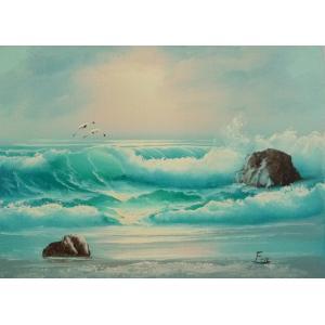 絵画 肉筆油絵 F4号 「波 海 海景画」-152- 特価|touo
