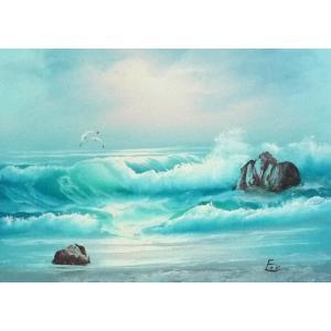 絵画 肉筆油絵 F4号 「波 海 海景画」-153- 特価|touo