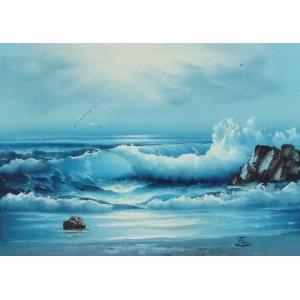 絵画 肉筆油絵 F4号 「波 海 海景画」-154- 特価|touo