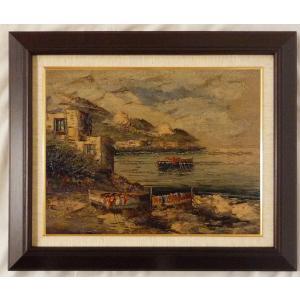 ヨーロッパ絵画 油絵 F6号 コルシニ作「ナポリの港」21+新品額縁|touo