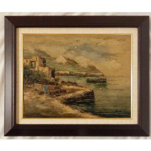 ヨーロッパ絵画 油絵 F6号 コルシニ作「ナポリの港」22+新品額縁|touo