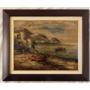 ヨーロッパ絵画 油絵 F6号 コルシニ作「ナポリの港」23+新品額縁|touo