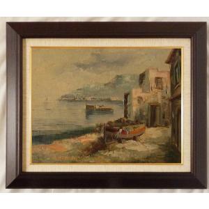 ヨーロッパ絵画 油絵 F6号 コルシニ作「ナポリの港」15+新品額縁|touo