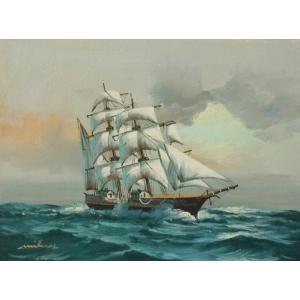絵画 肉筆油絵 F4号 「帆船」-1- 特価|touo