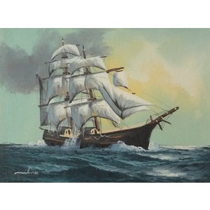 絵画 肉筆油絵 F4号 「帆船」-11- 特価|touo