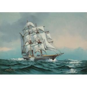 絵画 肉筆油絵 F4号 「帆船」-12- 特価|touo