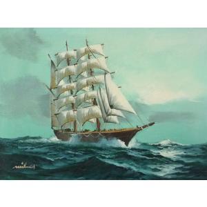絵画 肉筆油絵 F4号 「帆船」-14- 特価|touo