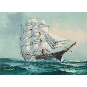 絵画 肉筆油絵 F4号 「帆船」-15- 特価|touo