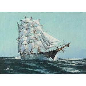 絵画 肉筆油絵 F4号 「帆船」-16- 特価|touo