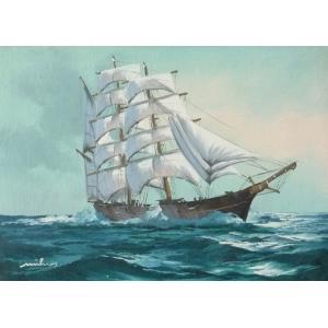 絵画 肉筆油絵 F4号 「帆船」-18- 特価|touo