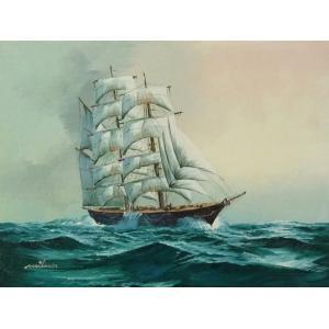 絵画 肉筆油絵 F4号 「帆船」-19- 特価|touo
