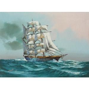 絵画 肉筆油絵 F4号 「帆船」-3- 特価|touo