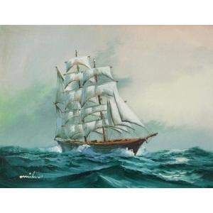 絵画 肉筆油絵 F4号 「帆船」-6- 特価|touo
