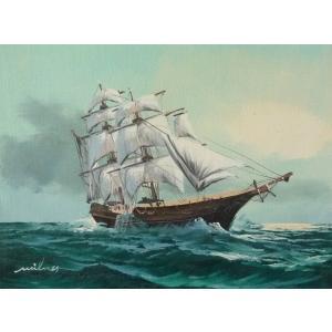 絵画 肉筆油絵 F4号 「帆船」-7- 特価|touo