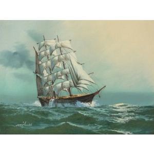 絵画 肉筆油絵 F4号 「帆船」-30- 特価|touo