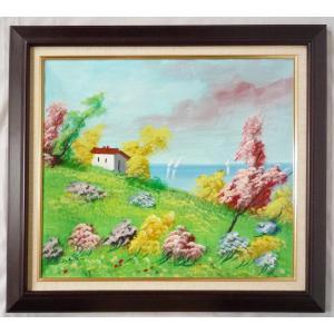 ヨーロッパ絵画 油絵 F10号 ベビラッカ作「地中海風景」+新品額縁|touo