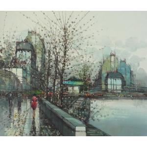 ヨーロッパ絵画 油絵 F12号 ニネッティ作「パリの街」1-新品-特価-|touo