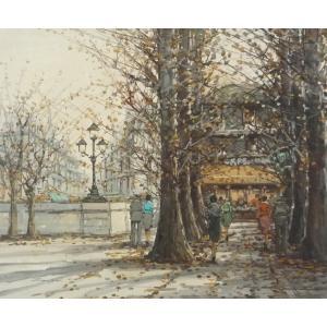 ヨーロッパ絵画 油絵 F12号 ザンピーニ作「パリの街」|touo