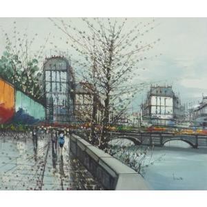 ヨーロッパ絵画 油絵 F12号 ニネッティ作「パリの街」2-新品-特価-|touo