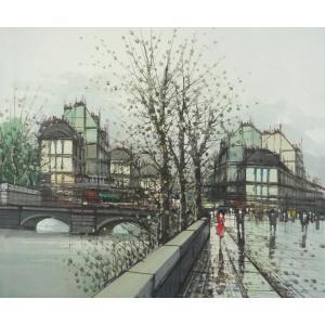 ヨーロッパ絵画 油絵 F12号 ニネッティ作「パリの街」3-新品-特価-|touo