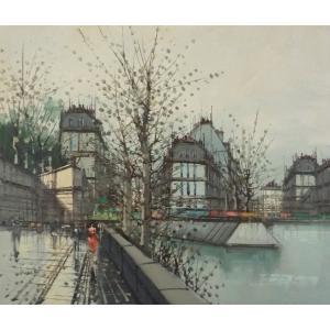 ヨーロッパ絵画 油絵 F12号 ニネッティ作「パリの街」4-新品-特価-|touo