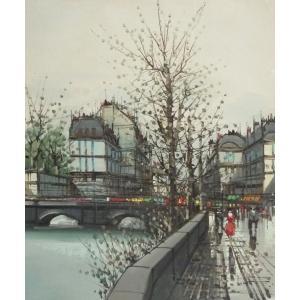 ヨーロッパ絵画 油絵 F12号 ニネッティ作「パリの街」5-新品-特価-|touo